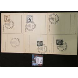 (3) Different Nazi Germany 1936 Olympics Berlin Postcards. All postmarked with stamps, Nazi Swastika