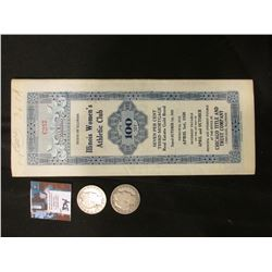"""1936 State of Illinois Gold Bond with Coupons """"Illinois Women's Athletic Club Chicago, Ill."""" $100; 1"""