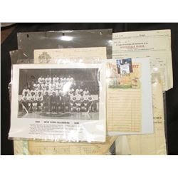 """Copy of Photo 1984 New York Islanders; & a large selection of """"Flour"""" memorabilia (invoices, letter"""