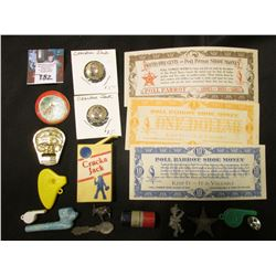 Group of Cracker Jack toys & etc.; & a 3 pc. set of Poll Parrot Shoe Money from the depression era.