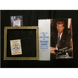 """""""President John F. Kennedy"""" Postcard; White Ribbon with blue lettering """"I was at the Inauguration of"""