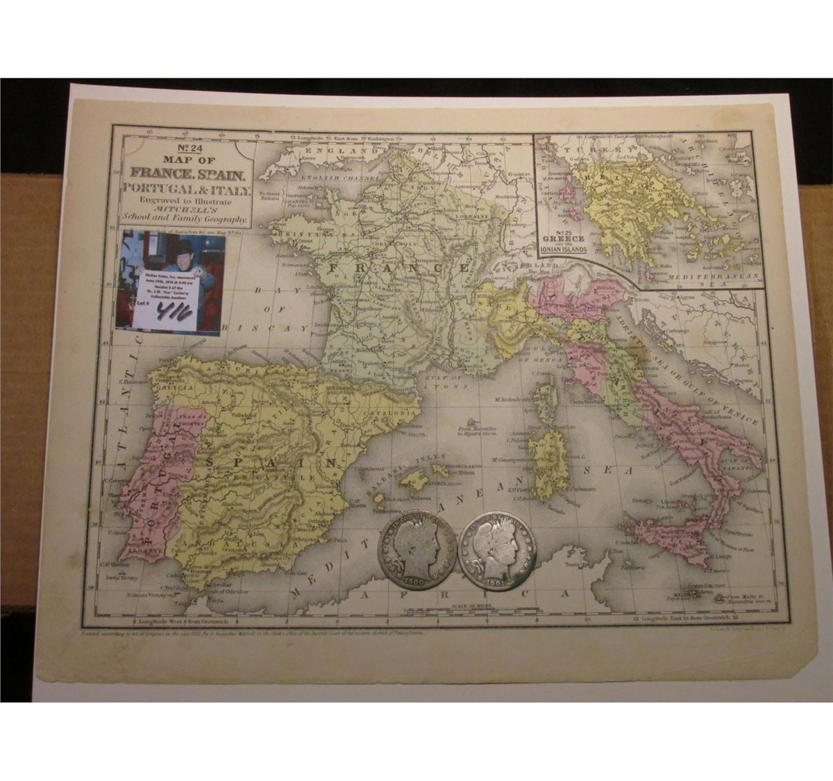 Map Of Spain Portugal And Italy.9 25 X 11 5 Map Of France Spain Portugal Italy Engraved Ready For Framing 1900 P 1901 P