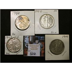 1941 D, 42 D, 43 P, & 44 P Walking Liberty Half Dollars, all EF to AU.