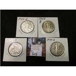 1941 D, 42 D, 43 D, & 45 D Walking Liberty Half Dollars, all EF to AU.
