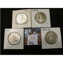 1941 D, 42 P, 43 D, & 45 D Walking Liberty Half Dollars, all EF to AU.