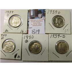 (3) 1939 D & (2) 40 D Mercury Dimes, AU to Uncirculated.