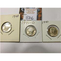 1940 P, 41 P, & 41 D Mercury Dimes, AU to Uncirculated.