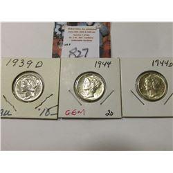 1939 D, 44 P, & D Mercury Dimes, AU to Uncirculated.