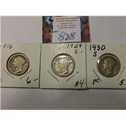 1916 P Fine, 29 S VG, & 30 S Fine Mercury Dimes.