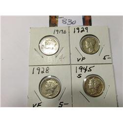 1919 D Good, 28 P VF, 29 P VF, & 45 S AU Mercury Dimes.
