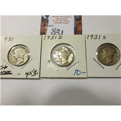 1931 P, D, & S Mercury Dimes.