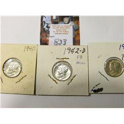 1940 P, 41 D, & 42 D Mercury Dimes, AU to Uncirculated.