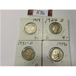 1919 P Good, 24 D Good, 31 D Good, & 44 D AU Mercury Dimes.
