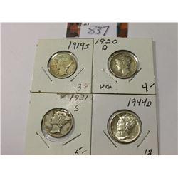 1919 S Good, 20 D VG, 31 S VF, & 44 D AU Mercury Dimes.