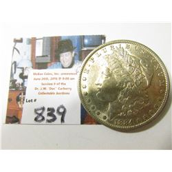 1884 O Morgan Silver Dollar, AU.