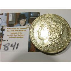 1890 S Morgan Silver Dollar, AU.