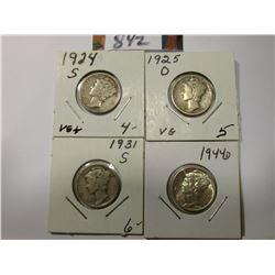 1924 S VG, 25 D VG, 31 S Fine,  & 44 D AU Mercury Dimes.