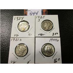 1924 P VG, 25 S VG, 31 S VG, & 44 D AU Mercury Dimes.