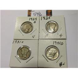1924 D, 25 P, 31 S, & 44 D Mercury Dimes, grades up to AU.
