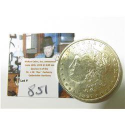 1897 P Morgan Silver Dollar, AU to Uncirculated.