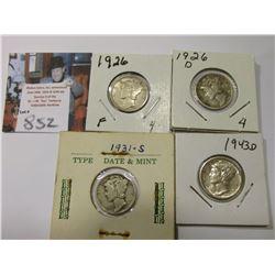 1926 P, D, 31 S, & 43 D Mercury Dimes, grades up to AU.