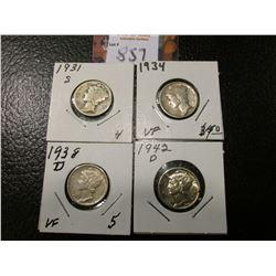 1931 S, 34 P, 38 D, & 42 D Mercury Dimes, grades up to AU.