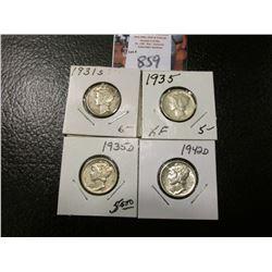 1931 S, 35 P, D, & 42 D Mercury Dimes, grades up to AU.
