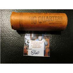 1956 D Original BU Roll of Washington Silver Quarters, (40 pcs.).
