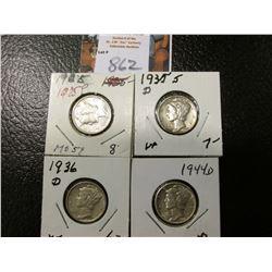 1925 P, 35 D, 36 D, & 44 D Mercury Dimes, all EF to AU.
