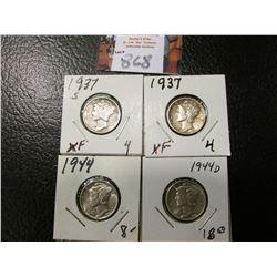 1937 P, S, 44 P, & D Mercury Dimes, all EF to AU.