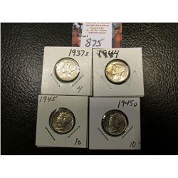 1937 S, 44 P, 45 P, & D Mercury Dimes, all EF to AU.