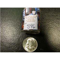 1960 D Original BU Roll of Franklin Half Dollars in a plastic tube, (20 pcs.).