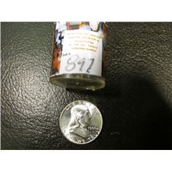1960 P Original BU Roll of Franklin Half Dollars in a plastic tube, (20 pcs.).