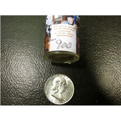 1957 D Original BU Roll of Franklin Half Dollars in a plastic tube, (20 pcs.).