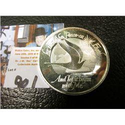 """""""World Peace Foundation Clackamas Mint, Inc."""" .999 Fine Silver One Ounce Medallion, BU."""