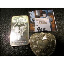 (2) Valentine Day .999 Fine Silver One Ounce Medallions, BU.