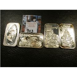 (4) different Christmas .999 Fine Silver One Ounce Medallions, BU.