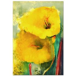 """""""Yellow Lily"""" Limited Edition Hand Pulled Original Lithograph by Victoria Montesinos, Numbered and H"""