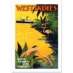 """""""White Star Lines/West Indies"""" Hand Pulled Lithograph by the RE Society! Includes Certificate of Aut"""