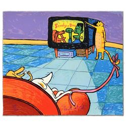 """""""Remote Cat-trol"""" Limited Edition Hand Pulled Original Lithograph By Matt Rinard, Numbered and Hand"""