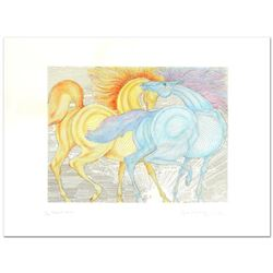 """Guillaume Azoulay - """"Tryst"""" Limited Edition Hand-Watercolored Etching, Numbered and Hand Signed with"""