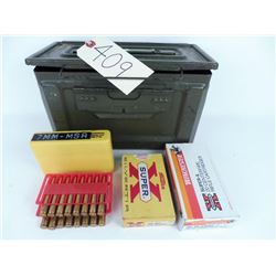 30 Rds. 30:40 Krag plus 30 Rds. 7mm Mauser with ammo box