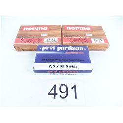 7.5x55 Swiss 1 box Prvi Partizan FMJ 174 grain + 2 boxes Norma 180 grain SP