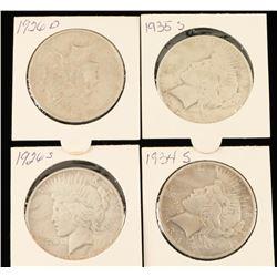 Lot of 4 Liberty Peace Dollars