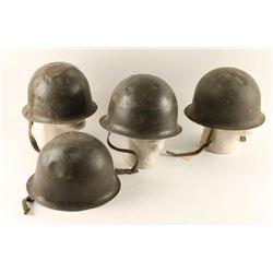 Lot of 4 Steel Pot Helmets
