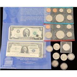 Lot of Coins and Paper Money