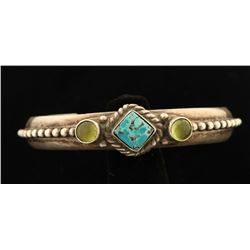 Mexican Turquoise & Peridot Cuff Bracelet