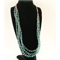 Four Strand Navajo Kingman Turquoise Necklace