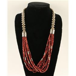 Navajo 8 Strand Coral Necklace