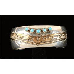 Native American Wide Sterling Silver Bracelet